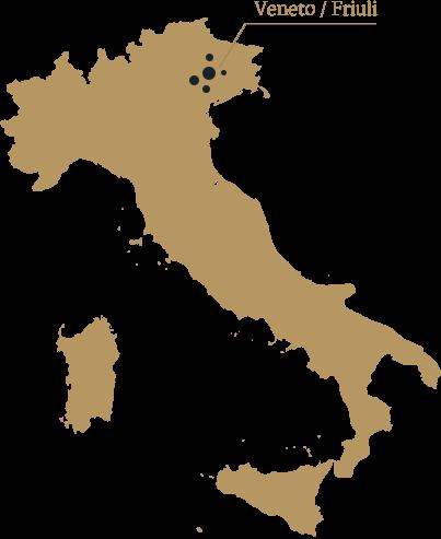 mapa włoch z zaznaczonym regionem Veneto Friuli skąd pochodzi prosecco Culaccino