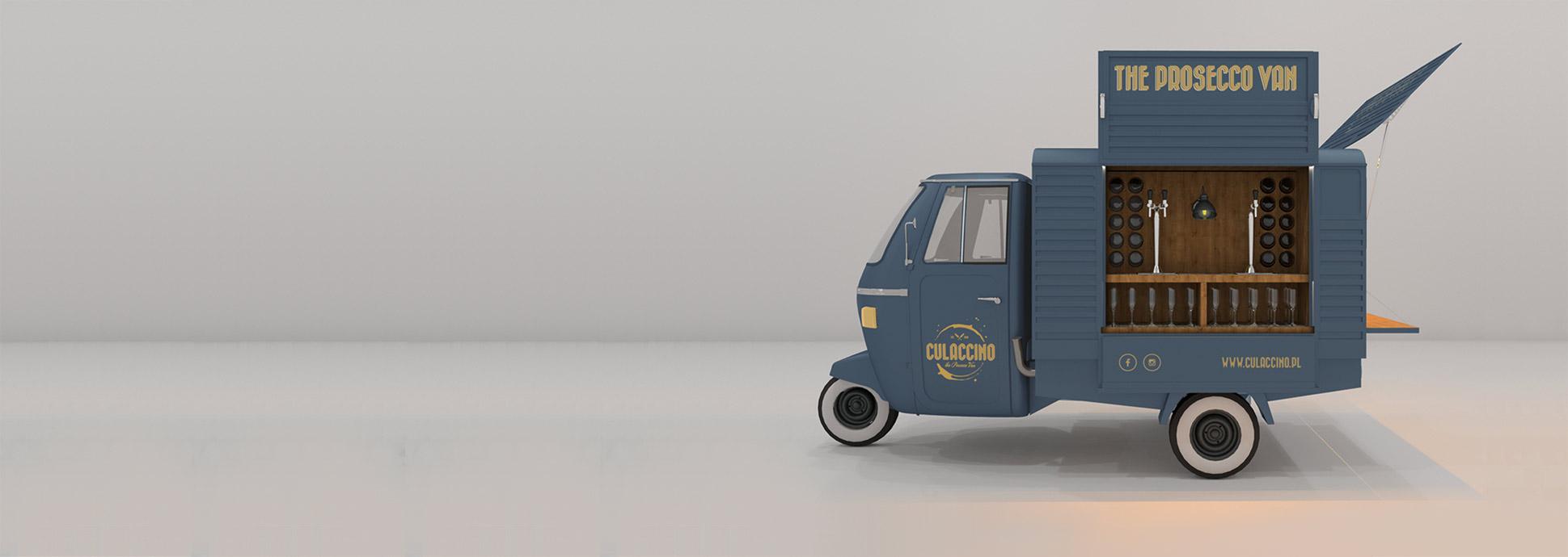 Zdjęcie Ape Piaggio Culaccino The Prosecco Van z otwartymi klapami